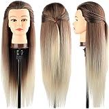 Tete a Coiffer, DanseeMeibr 66cm Tête de coiffure 100% de Cheveux Synthétiques Têtes d'exercice pour le Salon Coiffeur…