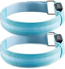 kwmobile 2X LED Leucht Armband Leuchtband - Laufen Fahrrad Joggen - Leuchtarmband Licht für Kinder und Erwachsene - Blinklicht