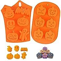 2 Pièces Moulle Silicone Patisserie, Moules Gateaux Halloween,Moulle Halloween Silicone,Halloween Citrouille Gateaux…