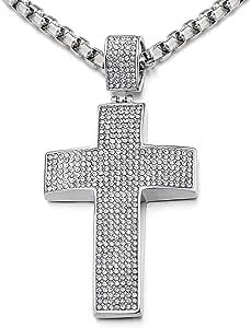 COOLSTEELANDBEYOND Grande Croce Collana con Pendente da Uomo Donna, Ciondolo Croce, Acciaio Inossidabile, con Zirconi, Catena Grano 75cm