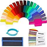 Neewer Kit de Filtre Gel Transparent 15,5x6,3 cms avec Bande d'Attache pour Photo Studio Strobe Flash lumière 20pcs