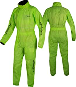 A Pro Motorcycle Motorbike Waterproof Full Body One 1 Pc Rain Over Suit Fluo M Auto
