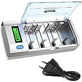 BONAI Batterij Oplader LCD Universele Snelle Batterijlader voor AA/AAA/C/D/9V NI-Mh/NI-CD Batterijen met Ontlaadfunctie