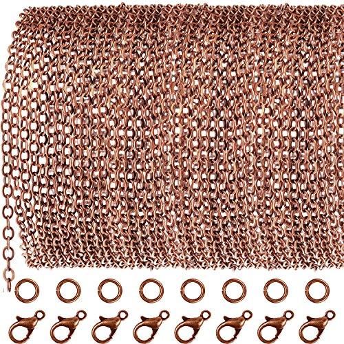 TecUnite 33 Fuß Antiquität Rot Kupfer Kettenglied Halskette mit 30 Stücke Binderinge und 20 Stücke Haken für DIY Schmuck Handwerk (2,5 mm) (Antiquitäten Halskette)