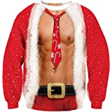 TUONROAD Sudaderas sin Capucha Christmas 3D Impreso Ugly Navidad Suéter Jumper Crew Neck Manga Larga Jersey Sweatshirt para H