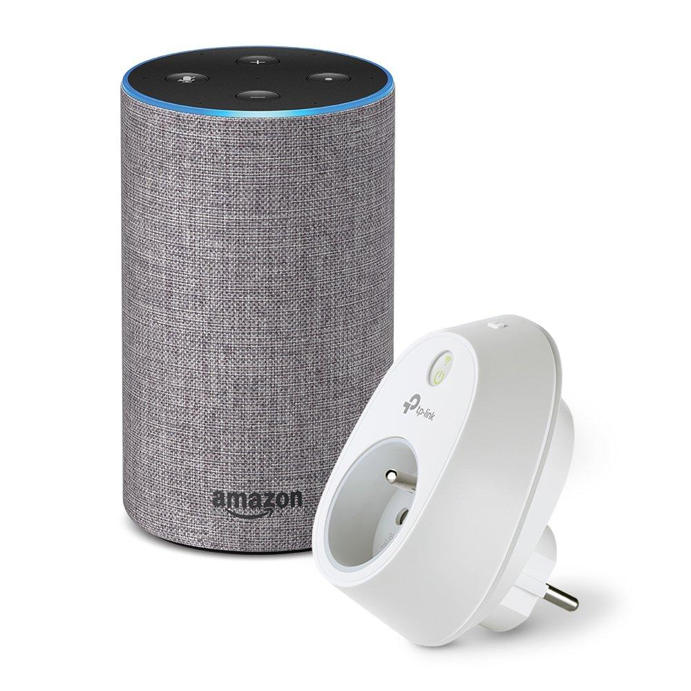 Amazon Echo (2ème génération), Tissu gris chiné + Prise connectée Wi-Fi TP-Link HS100 (aucun Hub requis)