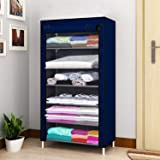 Zemic Collapsible Wardrobe Organizer, Storage Rack for Kids and Women, Clothes Cabinet, Bedroom Organiser 6 Shelves 4 Quick a