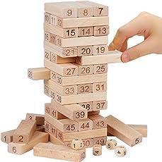 Mayatra's Blocks 4 Dices Wooden Tumbling Stacking Jenga Building Tower Game - Set of 51 Piece