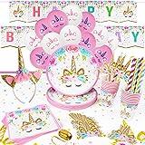 16 Ospiti Kit Compleanno Unicorno Festa Compleanno Bambini Piatti Bicchieri Tovaglioli Cannucce Tovaglia Cerchietto Festone B