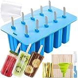 MojiDecor Moules à Glace en silicone, Set 10 Moules Popsicle DIY Réutilisable, avec 50 Sacs Jetables, 50 Bâtons en Bois, 1 En