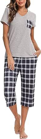 iClosam Pigiama Donna Estivo in Cotone, Pigiama Quadri Pantaloni Corti 3/4 Scozzesi e Maglietta con Scollo a V Set Pigiama Donna in 2 Pezzi S-XXL