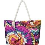 Grande borsa da spiaggia idrorepellente con cerniera Borsa a tracolla Shopper Acquerello di fiori d'epoca