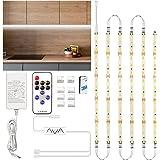 Ruban LED Blanc Froid 3m, Enteenly Bande LED 12V Cuisine avec Télécommande et Prise, Kit D'éclairage à Intensité Variable sou