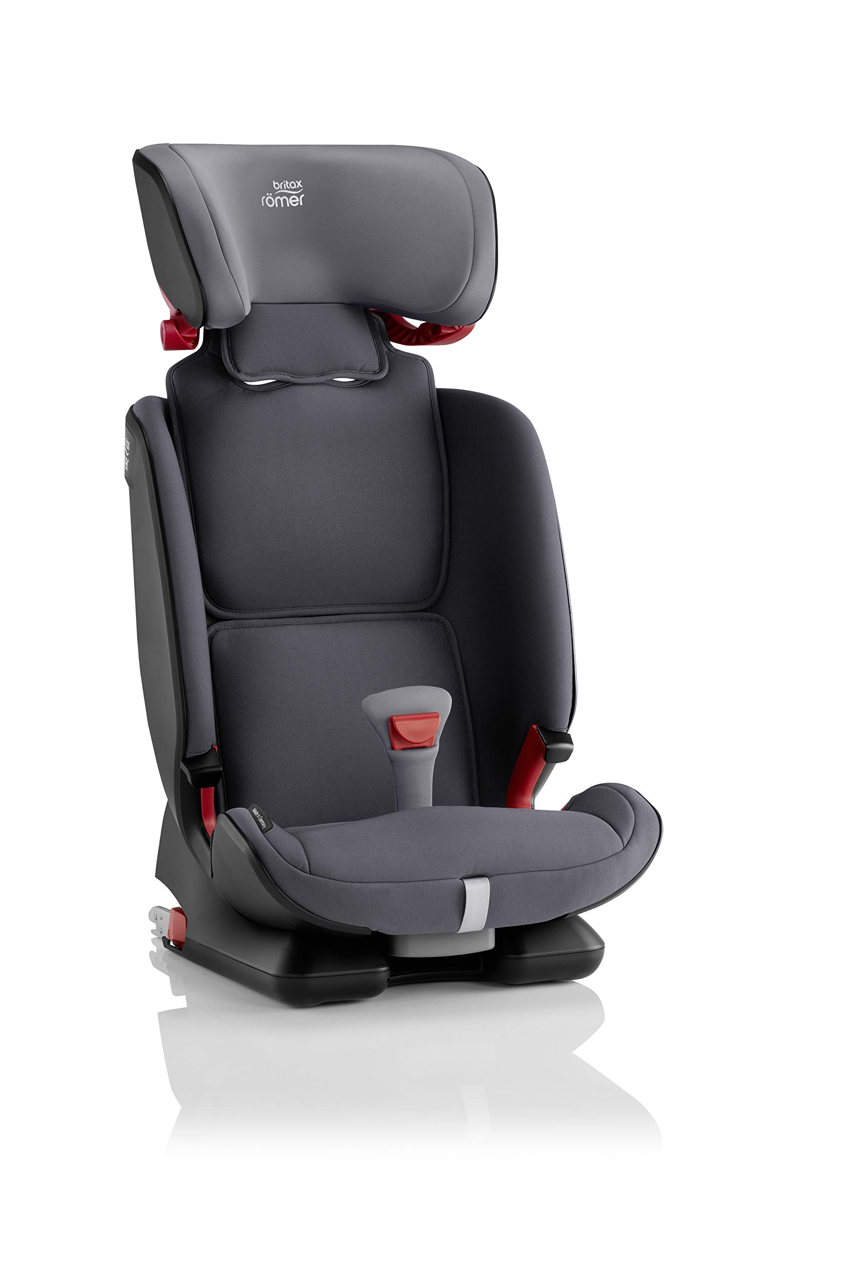 Britax Römer ADVANSAFIX IV M Group 1-2-3 (9-36KG) Car Seat- Storm Grey Britax Römer Our patented pivot link isofix system directs the force first downward into the vehicle seat, and then forward more gently - greatly reducing the risk of head and neck injury for your child We believe that a 5-point harness is the safest way to secure your child in a car seat because it keeps your child safe and tight in the seat's protective shell Soft neoprene performance chest pads fit comfortably on your child's chest. They help reduce your child's movement in the event of a collision, and add even greater comfort to the 5-point harness 7