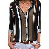 FIYOTE Chemisier Femme Manches Longues T Shirt Rayures Verticales Chemise Femmes Chic Col en V Blouse Tunique Multicolore S-X
