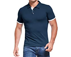 AIYINO Men's Polo Shirt Short/Long Sleeve Polo Tee Contrasting Colors Golf Tennis T-Shirt