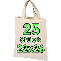 25 Stück Baumwolltasche 22x26 cm klein – Jutebeutel – Natur Apothekertasche, Tragetasche, Beutel, Geschenktasche ÖKO-TEX…