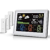 BALDR Wetterstation Funk mit 3 Außensensor Indoor Outdoor Thermometer Hygrometer mit Wettervorhersage, DCF…