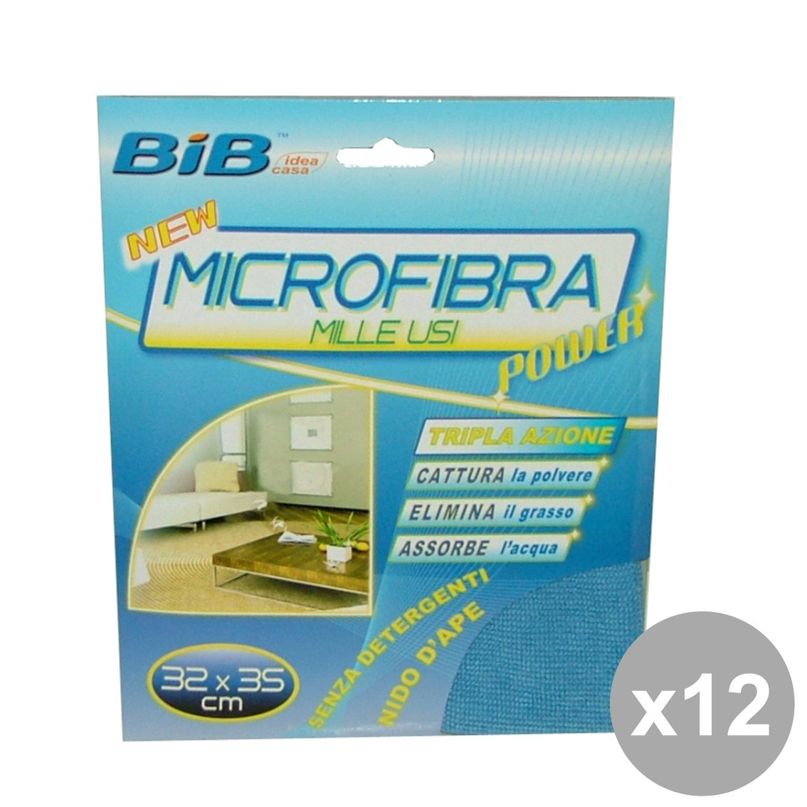 Set 12 BIB Panno Milleusi Microfibra 32X35 Cm. Attrezzi Pulizie