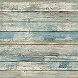 Hode blauw houteffect Contactpapier Zelfklevende rol Decoratieve vinylfolie Versierde waterdichte sticker voor deurwandmeubil