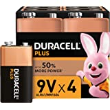 Duracell Plus 9 V Alkaline Batteries for Smoke Alarms [Pack of 4], 1.5 V 6LR61 MN1604 Ideal for Smoke Alarms