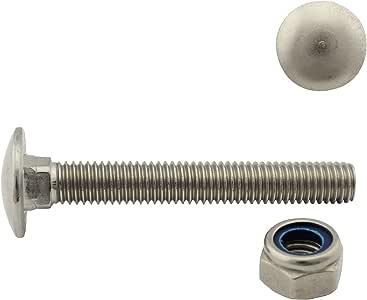 M8x90 - 50 St/ück SC603 aus rostfreiem Edelstahl A2 V2A - DIN 603 Vollgewinde Flachrundschrauben // Schlossschrauben