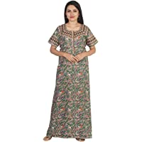 NIGHTY HOUSE Womens Jaipuri Hand Prints Comfortable Soft 100% Cotton Nightgown (L - 4XL)