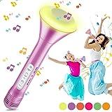 Magicfun Microphone Sans Fil Karaoké, Microphone Bluetooth avec 5 lumières LED de couleur, Karaoké Portable 4 en 1 pour lecte