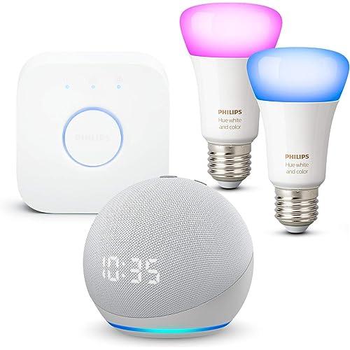 Echo Dot (4ª generazione) con orologio, Bianco ghiaccio + Philips Hue Color Starter Kit 2 Lampadine Smart (E27), compatibile con Alexa