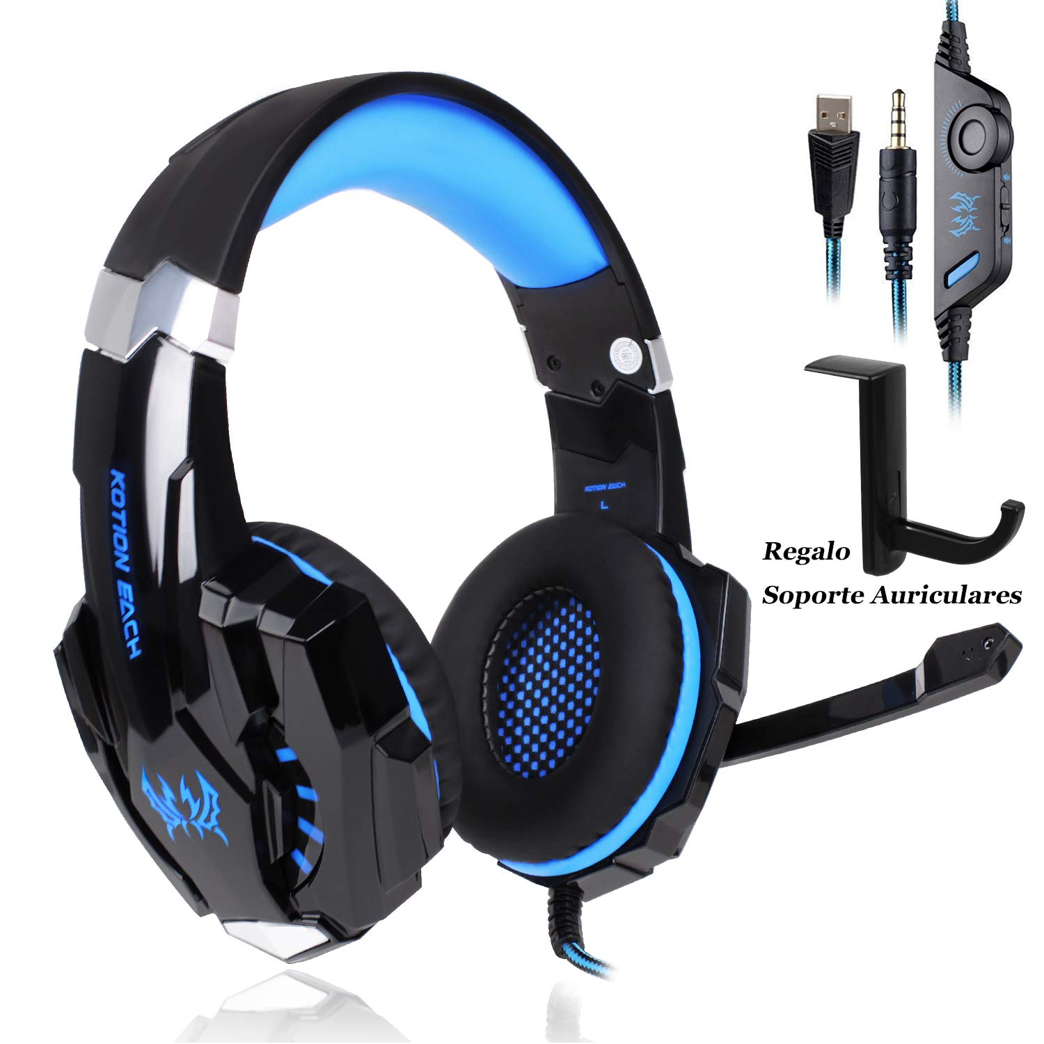 Auriculares Gaming PS4, Galopar Cascos Gaming, Premium Stereo con Microfono Gaming Headset con 3.5mm Jack para PC/Xbox One/Móvil – con Gancho y 2 x Cable de Extensión-Azul