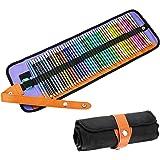 Powcan 48 matite colorate Set matite per acquerelli Matite colorate solubili in acqua con 2 pennelli e matita più nitide e po