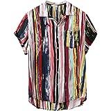 Mens Short Sleeve Shirts Printed Color Stripe Button Down High Low Hem Loose Casual Pullover Tees Hawaiian Beach Sports Runni