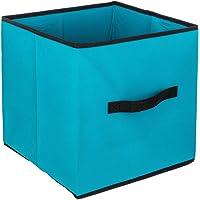 Atmosphera 28767 Boite Cube de Rangement Bleu Turquoise 31x31cm, en Non tissé et Plastique PP 31 x H. 31 cm