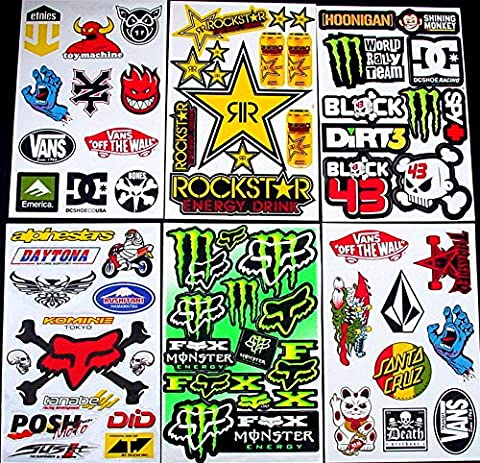 * 6 BLATT AUFKLEBER VINYL MCA/ MOTOCROSS STICKERS BMX BIKE PRE CUT STICKER BOMB PACK METAL ROCKSTAR ENERGY SCOOTER