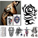 Kotbs 8 Sheets Extra Large Temporary Tattoos for Men Women Tribal Totem Tattoo Sticker Body Art Makeup Fake Tattoo