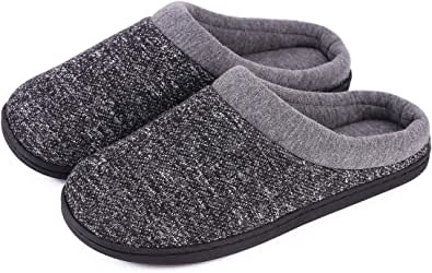 Men's Women's Comfort Slip On Memory Foam Slippers French Terry Lining House Slippers with Anti Slip Sole