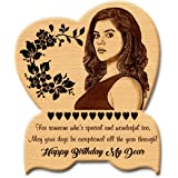 GFTBX 'Happy Birthday' Personalized Engraved Heart Shape Wooden Photo Plaque Gifts for Women (8 x 5 inches, Brown)