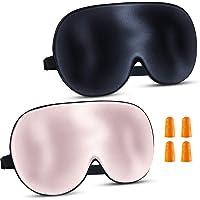2 Pack of Augenmaske Schlafmaske Seide - Schlafmasken Damen und Herren Bequem Schlafmaske Verstellbarem Gummiband Sleep…