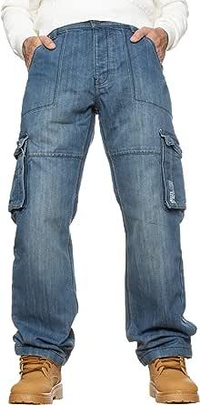BRAND KRUZE Mens Designer Combat Trousers Casual Cargo Jeans Work Pants All Waist Sizes