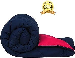 TRUSTFUL Microfiber Reversible Double Micro Cotton Comforter   Duvet (King Size 228.6 x 254.0 cm, Blue & Pink)