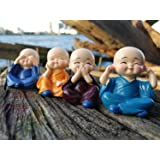 NP Set of 4 Polyresin Laughing Buddha Statue for Home Decor, (Multicolour)