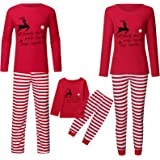 Hengyouhui Christmas Family Matching Pajamas Set for Adults Kids Red Deer Printed Sleepwear Long Sleeve Tops Pants Loungewear