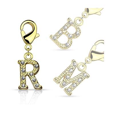 Armband anhänger  Bungsa® A - Buchstaben Charm Gold 14 Karat Anhänger für Kette ...