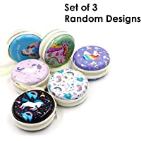 Oytra Unicorn Metal Tin Earphone Pouch Case Box for Coins and Collectibles (Set of 3)