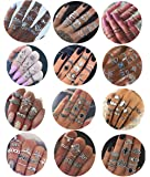 Milacolato 132PCS Boemia Knuckle Ring Set per Donna Hollow Silver Fashion Midi Finger Rings Vintage Stackable Knuckle Midi Rings Set