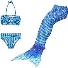 Thee Trikini per la spiagga, con coda di sirena, per bambina