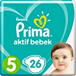 Prima Bebek Bezi Aktif Bebek 5 Beden İkiz Paket 26' lı