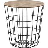Design bijzettafel - metalen mand met houten deksel - decoratieve banktafel incl. mand