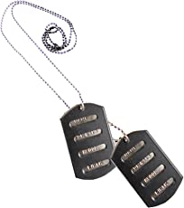 eshoppee Name Age Sex Dog tag us Army Locket Pendant Necklace Chain for Man and Women (Black)