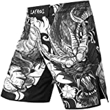 LAFROI Mens MMA Cross Training Boxing Shorts Trunks Fight Wear with Drawstring and Pocket-QJK01